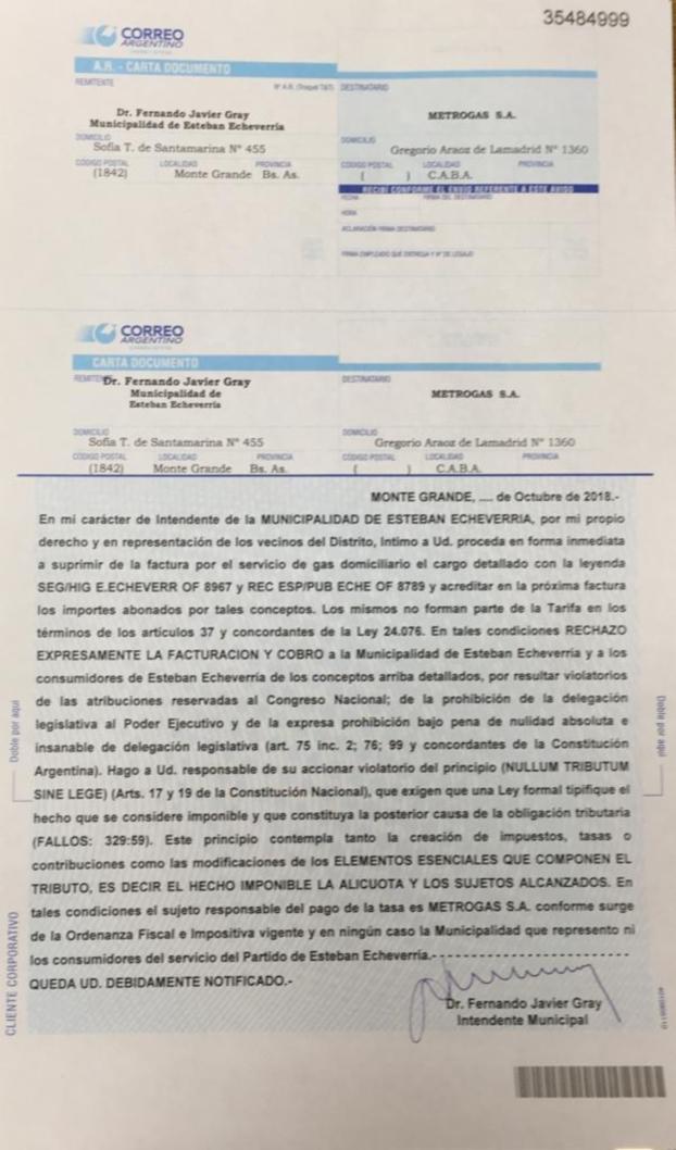 EE FERNANDO GRAY INTIMÓ A METROGAS A ELIMINAR EL COBRO DE LAS TASAS MUNICIPALES QUE ABONAN LOS VECINOS DE ECHEVERRÍA