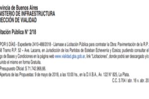 EE OBRA DE AMPLIACIÓN DE LA RUTA PROVINCIAL 58
